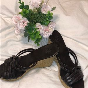 New York & Company Wedge Sandals Brown Size 6.5